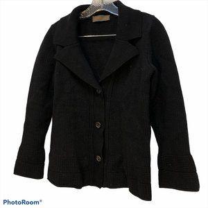fabrizio del carlo Italy black merino wool cardi L